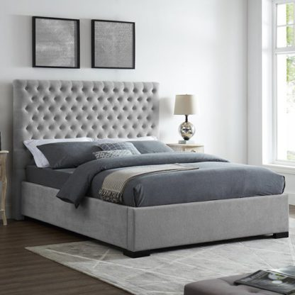 An Image of Cavendish Double Fabric Bed In Grey