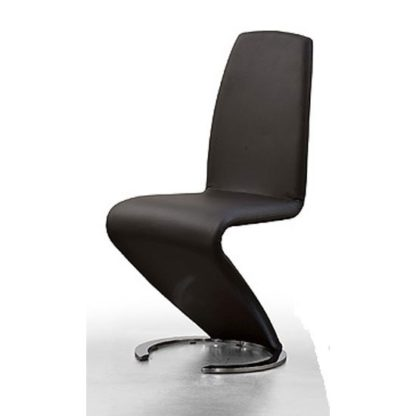An Image of Swing I Metal Swinging Black Faux Leather Dining Chair