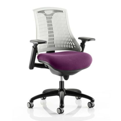 An Image of Flex Task White Back Office Chair With Tansy Purple Seat