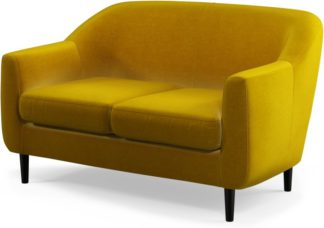 An Image of Custom MADE Tubby 2 Seater Sofa, Saffron Yellow Velvet with Black Wood Leg