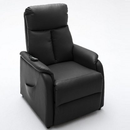 An Image of Ofelia Recliner Chair In Black PU Leather With Rise Function