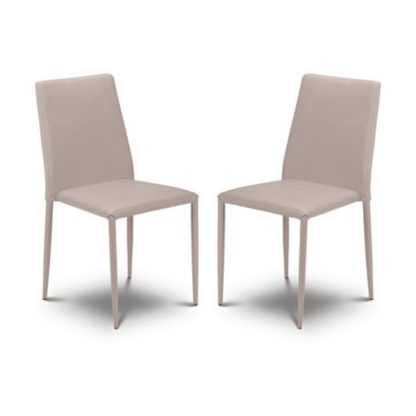 An Image of Jazz Stone Faux Leather Stacking Dining Chair In Pair