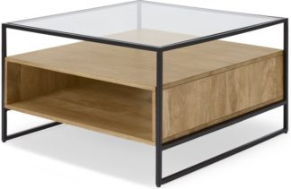 An Image of Kilby Square Coffee Table, Light Mango Wood and Glass