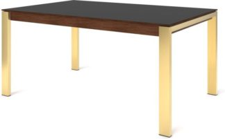 An Image of Custom MADE Corinna 6 Seat Dining Table, Grey HPL and Brass