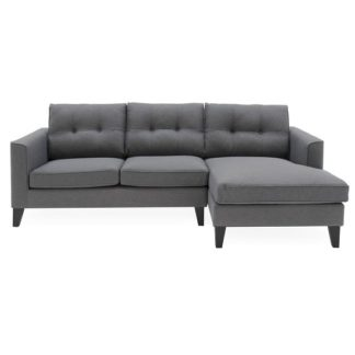 An Image of Rawls Corner Fabric Right Hand Side Sofa In Charcoal Finish