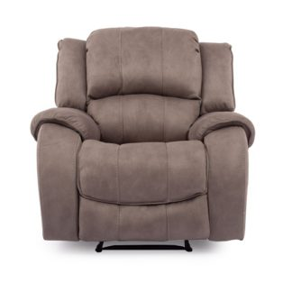An Image of Ryan Recliner Textured Fabric Arm Chair In Smoke Finish