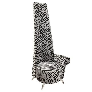 An Image of Amily Left Handed Potenza Chair In Silver Velvet Tiger Print