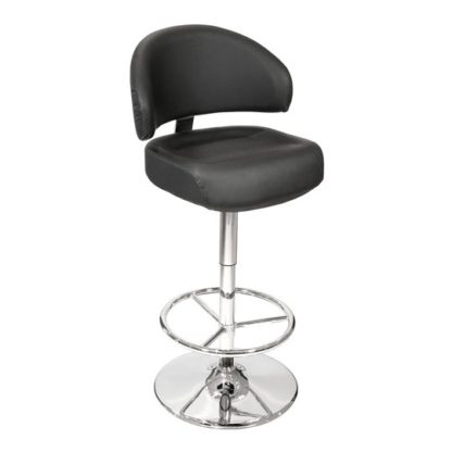 An Image of Casino Black Leather Bar Stool With Chrome Base