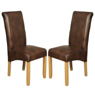 An Image of Sika Tan Leather Air Dining Chair In Pair