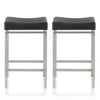 An Image of Leighton Bar Stool In Black Faux Leather In A Pair