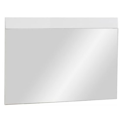 An Image of Adrian Wall Bedroom Mirror With White High Gloss Frame