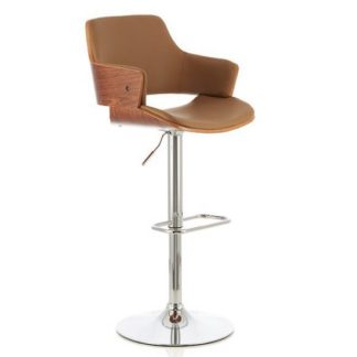 An Image of Finnley Bar Stool In Walnut And Beige PU With Chrome Base