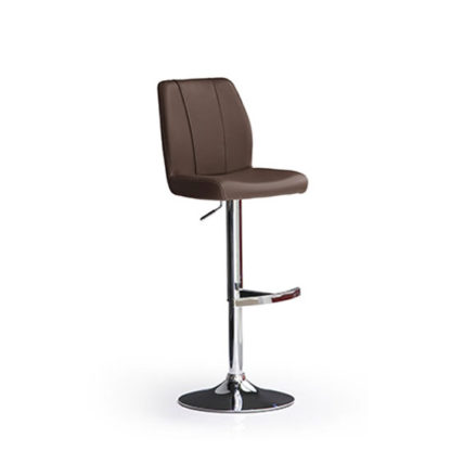 An Image of Naomi Brown Bar Stool In Faux Leather With Round Chrome Base