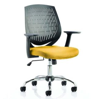 An Image of Dura Black Back Office Chair With Senna Yellow Seat