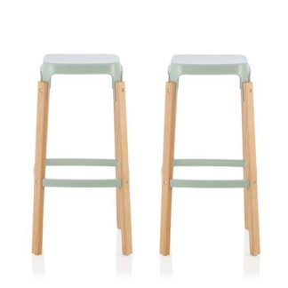 An Image of Hoker 66cm Bar Stools In Glossy Green In A Pair