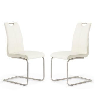 An Image of Harley Dining Chair In White Faux Leather In A Pair