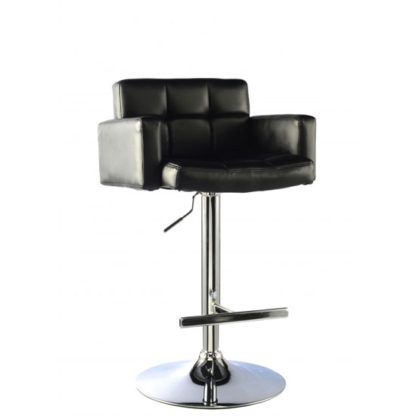 An Image of Elmfield Black Faux Leather Bar Stool With Chrome Base