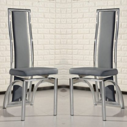 An Image of Chicago Dining Chairs In Grey Faux Leather In A Pair