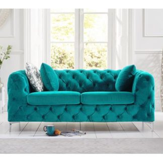 An Image of Sabine Velvet Two Seater Sofa In Teal Grey With Metal Legs