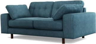 An Image of Content by Terence Conran Tobias, 2 Seater Sofa, Textured Weave Aegean Blue, Dark Wood Leg