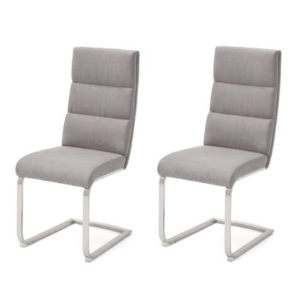 An Image of Hiulia Ice Grey Leather Cantilever Dining Chair In A Pair