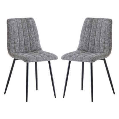 An Image of Virgo Grey Fabric Dining Chairs In Pair