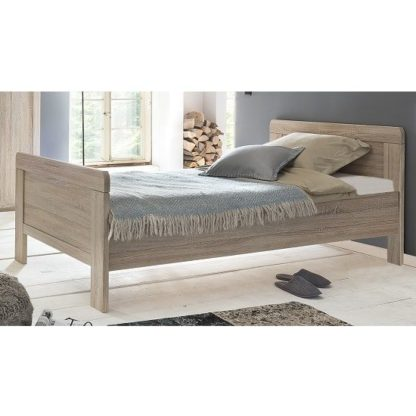An Image of Newport Wooden Single Bed In Oak Effect