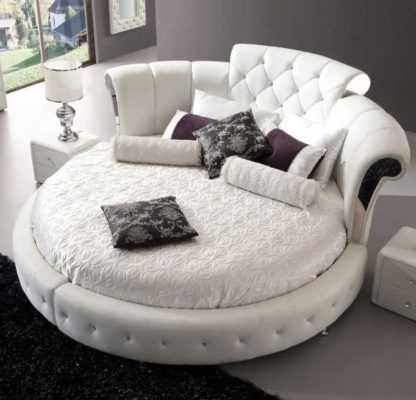 An Image of Romantica Round Chesterfield Style Bed In White Bonded Leather