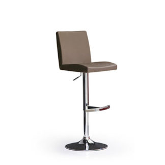 An Image of Lopes Cappuccino Faux Leather Bar Stool With Round Chrome Base