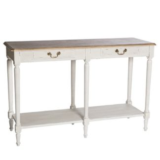An Image of Spencer Wooden Console Table Large In White With 2 Drawers