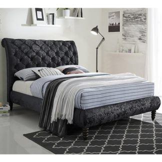 An Image of Venice Velvet King Size Bed In Black With Black Wooden Legs