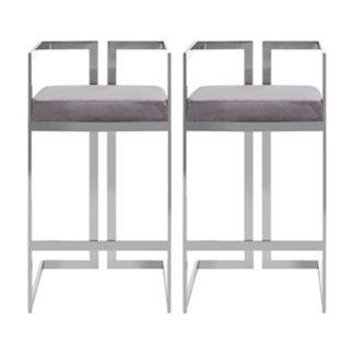 An Image of Azaltro Grey Velvet Bar Stools With Silver Metalframe In Pair