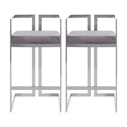 An Image of Azaltro Grey Velvet Bar Stools With Silver Metalframe In Pair