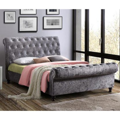 An Image of Castello Fabric King Size Bed In Steel Crushed Velvet