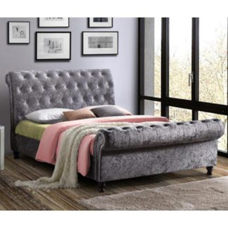 An Image of Castello Fabric Double Bed In Steel Crushed Velvet