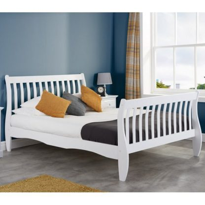 An Image of Emberly Wooden Double Bed In White