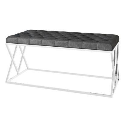 An Image of Adele Velvet Fabric Upholstered Dining Bench In Dark Grey