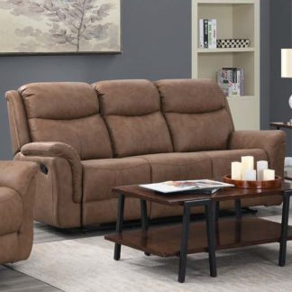An Image of Proxima Fabric 3 Seater Sofa In Dark Taupe