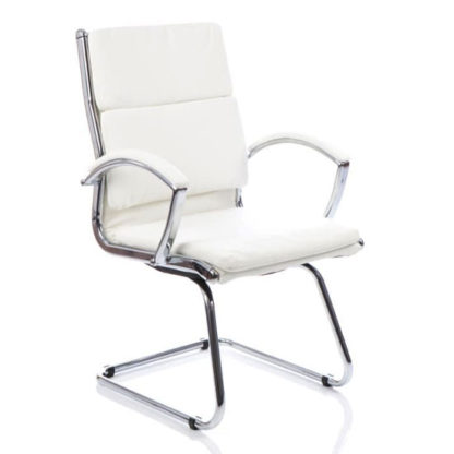An Image of Classic Leather Office Visitor Chair In White With Arms