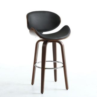 An Image of Clapton Bar Stool In Black And Walnut With Chrome Foot Rest