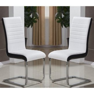 An Image of Symphony Dining Chair In White And Black PU In A Pair