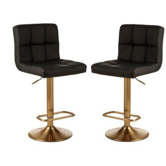 An Image of Baino Black Leather Bar Stool In Pair With Gold Base