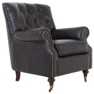 An Image of Sadalmelik Leather Armchair In Black