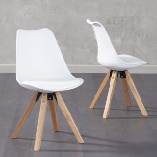 An Image of Tupa White Faux Leather Chairs In Pair With Square Leg