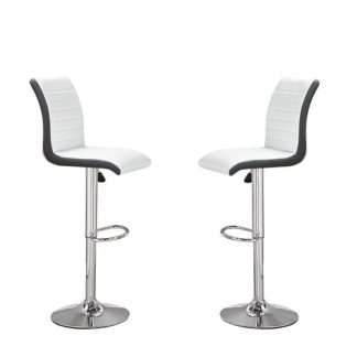 An Image of Ritz Bar Stools In White And Black Faux Leather In A Pair