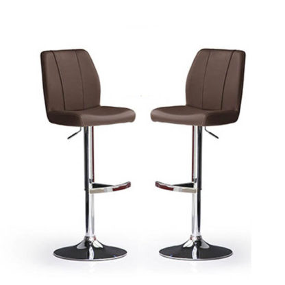 An Image of Naomi Bar Stools In Brown Faux Leather in A Pair