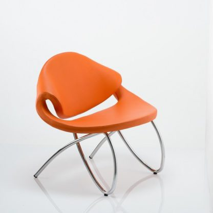 An Image of Garner Visitor Office Chair In Orange Bonded Leather