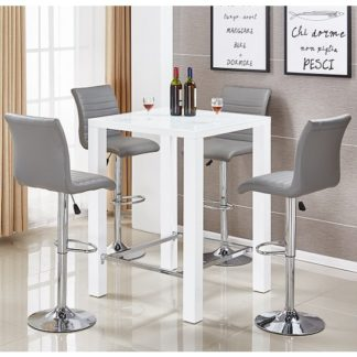 An Image of Jam Glass Bar Table Set In White Gloss 4 Ripple Grey Stools