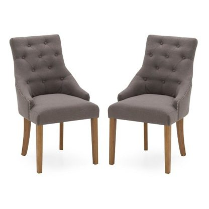 An Image of Vanille Linen Dining Chair In Grey With Oak Legs In A Pair