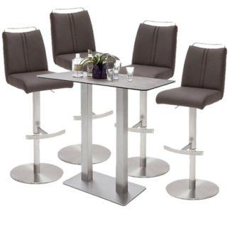 An Image of Soho Glass Bar Table With 4 Giulia Brown Stools
